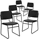 Flash Furniture 5 Pack HERCULES Series 500 lb. Capacity High Density Black Vinyl Stacking Chair with Sled Base
