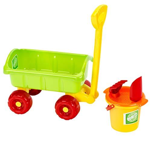 Theo Klein 7619 Klein goes BIO Handcart Wagon with 4 pcs Sand Bucket Set, for Children Aged 1yrs+