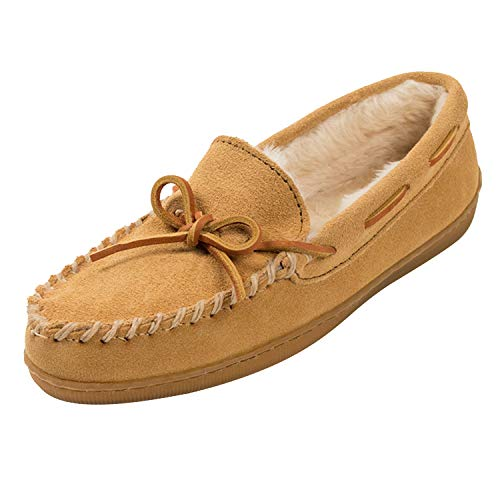 Minnetonka Men's Pile Lined Hardsole, Tan Suede, 7 W US