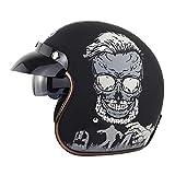 EBAYIN Caschi Cromwell Jet e Demi-Jet Brain - cap Casco Moto Anticollisione Retro Harley Certificazione DOT ECE Uomo Donna Cruiser Chopper Scooter Casco a Sgancio Rapido,A-S=(55~56cm)