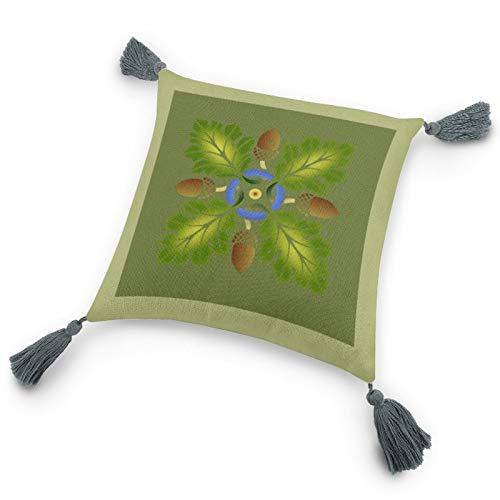 Kissenbezug mit Einsatz 24,8 x 24,8 cm, Eichenblatt-Schablone, dekorativer Kissenbezug mit Quasten für Schlafzimmer, Wohnzimmer, Couch
