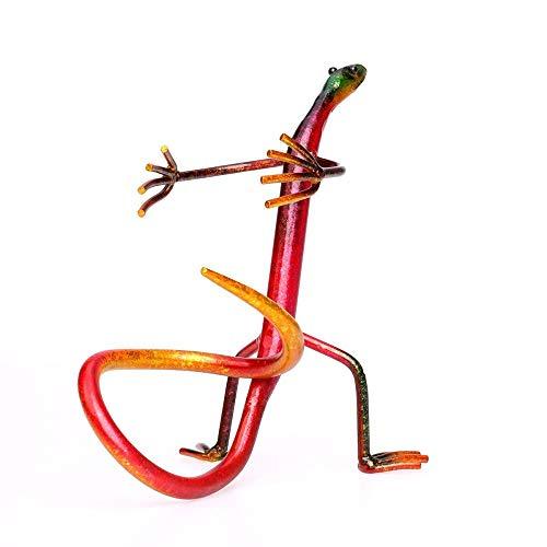 Estante de vino Gecko Estante de vino Escultura de metal Escultura práctica Decoración del hogar Decoración de interiores Artesanías