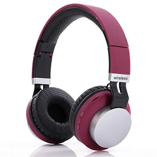 Wsaman Auriculares Inalambricos para DJ, Cascos Bluetooth 5.0 Diadema Fidelidad Estéreo Cascos Cancelación de Ruido para Celular/Running Dispositivi Bluetooth Earphones,Rojo