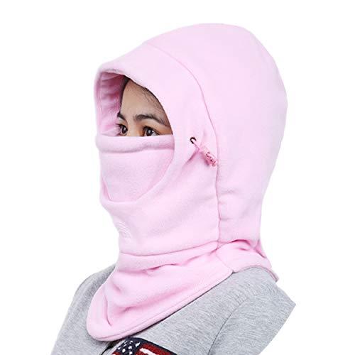 Azarxis Fleece Winter Sturmhaube, Warme Gesichtsmaske, Skimaske für Snowboard, Radfahren, Motorrad, Sport (Rosa - zweistöckig)
