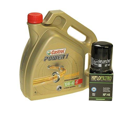 Castrol SAE 10W-40 Power 1 4T - Juego de cambio de aceite (4 L, incluye filtro de aceite Hiflo HF148, por ejemplo, para Yamaha FJR 1300, TGB 425, 525, 550)