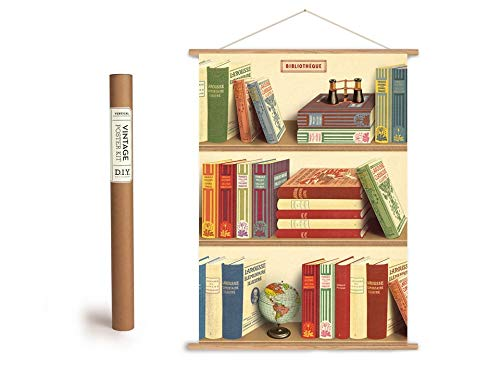 Cavallini Vintage Poster Set mit Holzleisten (Rahmen) und Schnur zum Aufhängen, Motiv Bücher, Bibliothek