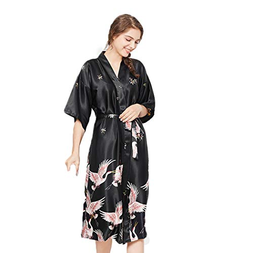 AXIANQIPJS Dames Dierenprint-silk Robes Sexy pyjamasets Thin Section Solid Color pyjama korte mouw riem badjas versleten buiten kleding Can Be