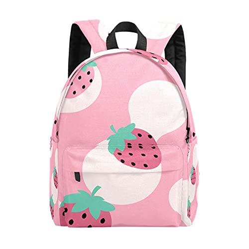 Mochila para adolescentes y niños, mochila de ocio con fresa rosa, mochila de viaje, trabajo