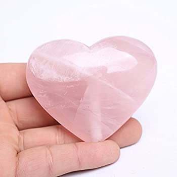 Yujianni Natural Rose Quartz Heart Pink Quartz Healing Gemstone Love Carved Polished Carved Palm Worry Stone Reiki Balancing