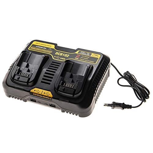 vhbw caricabatterie duale sostituisce Dewalt DCB102 per batterie Li-Ion (10,8V, 18V) di attrezzi