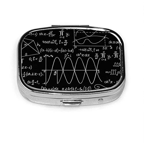 Matemática ecuación personalizada moda plata cuadrado píldora caja medicina tableta titular cartera organizador caso para bolsillo o monedero