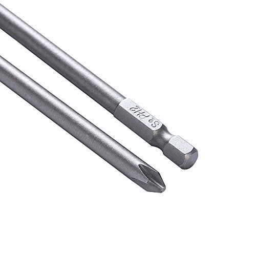 Rocaris 6 in Phillips Screwdriver Bit Sets 1/4 Inch Hex Shank Magnetic Screwdriver Bits Cross Head S2 Steel Screwdriver Bits 10 Pack