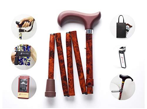 Merry Sticks, bastón Plegable Ajustable de diseño, Nogal, Incluye una práctica Bolsa para su bastón y un Soporte para Bastones Reflectante Inteligente
