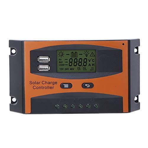 Caiqinlen Regulador de Panel Solar, Cargador MPPT de gestión de Carga PWM de 3 Niveles, Pantalla LCD para la función de Memoria de Apagado del hogar Industria Comercial
