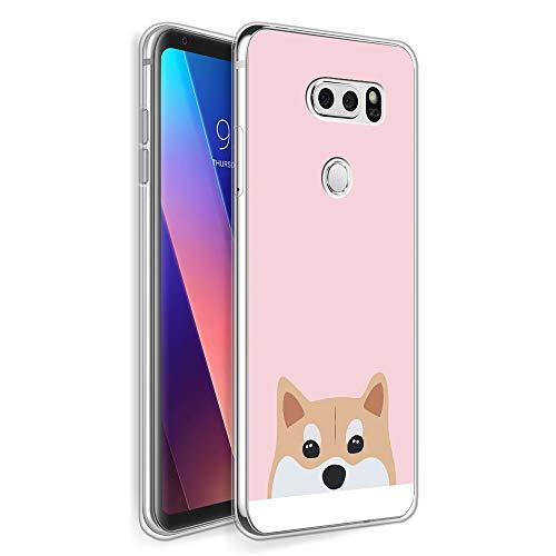 HelloGiftify Pink & Corgi TPU Soft Gel Protective Case. Compatible with LG V30