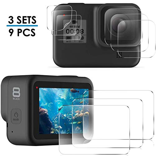 CAVN Kompatibel mit GoPro Hero 8 Black Displayschutzfolie [3-Set/9 Pcs], HD Displayschutz + Objektiv Schutz + Kleinem Display Schutz, 9H gehärtetem Hartglas Panzerglas Schutzfolie für Gopro Hero 8