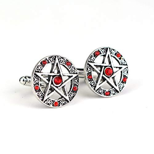 Gemelos Para Hombres, Moda Estrella De Cinco Puntas Diamante Rojo Cobre Botones...