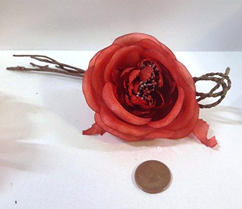 Set 11 pièces, Bonbonnière Bouquet Fleur Tissu x marque place, portaconfetti (CK1292) Rouge