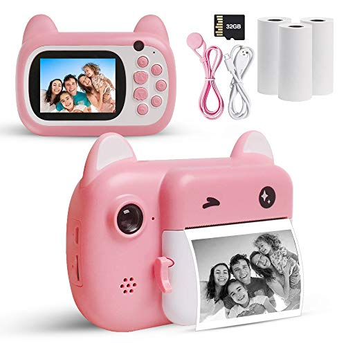 USATDD Instant Print Camera for Kids,Digital Camera for Girls Boys 24MP 1080P HD Selfie Video Camera Camcorder Photo Printer Toy with Print Paper,2.4 Inch Screen ,32GB TF Card Best Gift for Toddlers