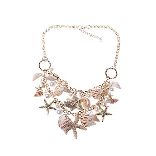 BLEUNUIT Collares de Perlas de imitación de Estrella de mar, Collar de Perlas de imitación de Estrella de mar de Concha de mar, Colgante de Collar Grueso de declaración para Mujer