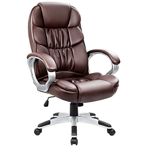 Homall Office Chair High Back Computer Chair Ergonomic Desk Chair, PU Leather Adjustable Height Modern Executive Swivel Task Chair with Padded Armrests and Lumbar Support (White)