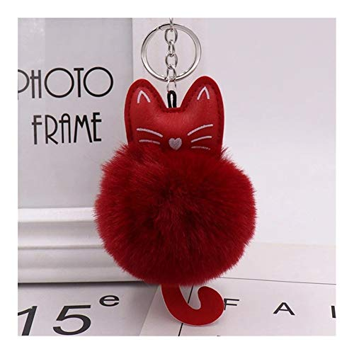 xjS Kkey Chain Fur Ball Keychain Cat Soft Pompom Animal Tail Hair Ball Car Keychain Ladies Car Bag Accessories Key Ring Mom Gift Unique (Color : Red wine)