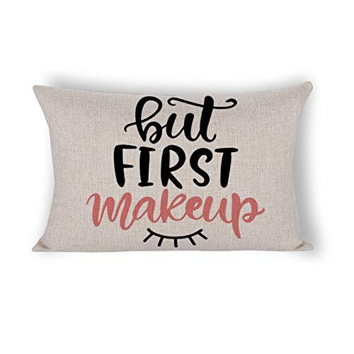 But First Makeup - Federa rettangolare per cuscino con scritta in lingua inglese 'Funny Girl' (lingua italiana non garantita)