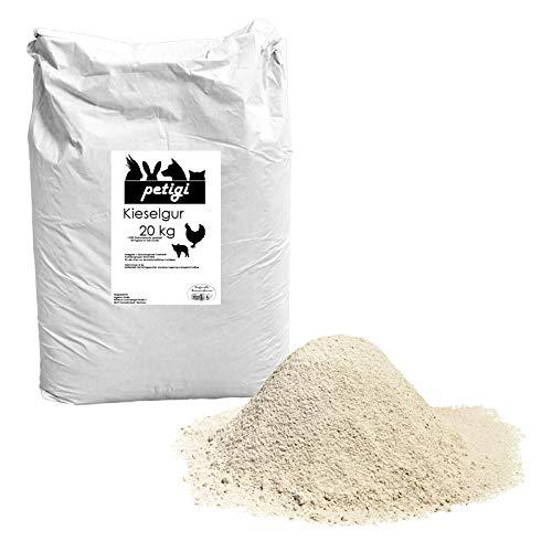 Petigi Kieselgur Pulver Puder 20 kg Kieselerde Naturprodukt Einstreu Hühner Wachteln Kaninchen Hund Katze Pferd Hygiene im Stall oder Silo Schwein Kuh
