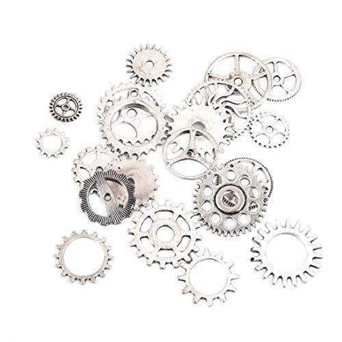 Naicasy Steampunk Zahnräder Charms Anhänger Halskette Findings 20 Stück Antik Silber