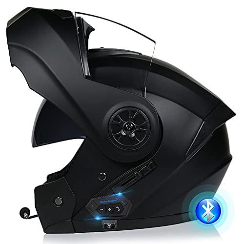 Bluetooth Casco Moto Modulare Microfono Auricolare con Altoparlante Incorporato Unisex con Doppia Visiera Parasole Casco Anticollisione per Moto Integrale Approvato DOT/ECE 55-62CM