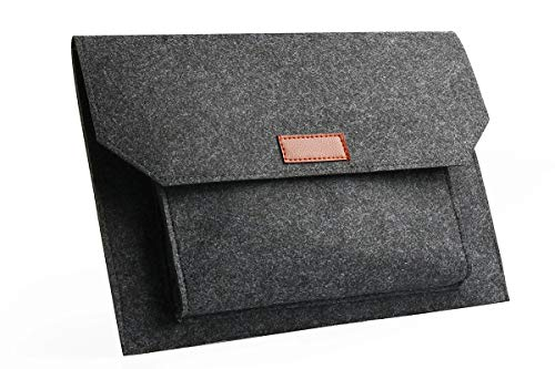 Felt Laptop Envelope Sleeve 14-15.4 Inch - ABRONDA Felt Expandable Large Space Case for MacBook Pro 15 / Retina, Also Compaitble 13' 14' Ultrabook Netbook- Dark Gray