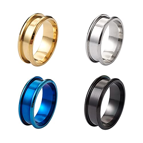 PandaHall 4 piezas de acero inoxidable con incrustaciones de núcleo de 4 colores, 20 x 8 mm, anillo de dedo ranurado redondo para incrustaciones, joyería para hombres y mujeres