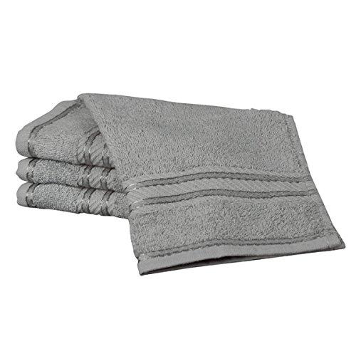 Linens Limited Supreme - Serviette pour Le Visage - 100% Coton égyptien - argenté - 30 x 30 cm