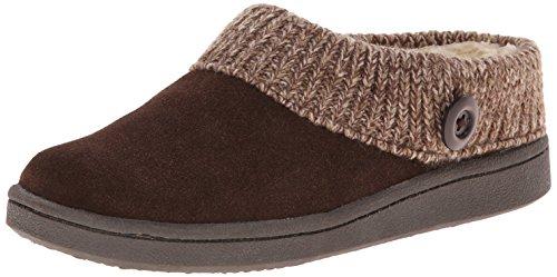 Clarks Women's Knit Scuff Slipper, Brown, 7 M US