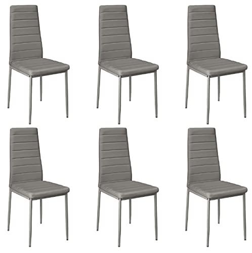 YAeele 6 unids sillas Comedor Comedor casa Bar nórdico Estilo Moderno Horizontal línea Duradera salón sillón Sala de Estar HWC (Color : Grey)