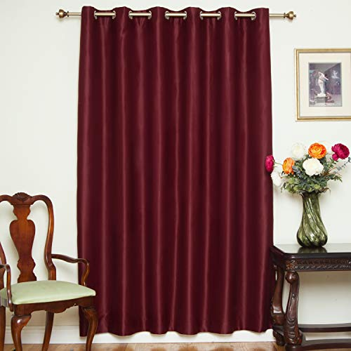 Blackout Curtain Burgundy Wide Width Nickel Grommet Top Thermal Insulated 80 Inch Wide by 108 Inch Long Panel