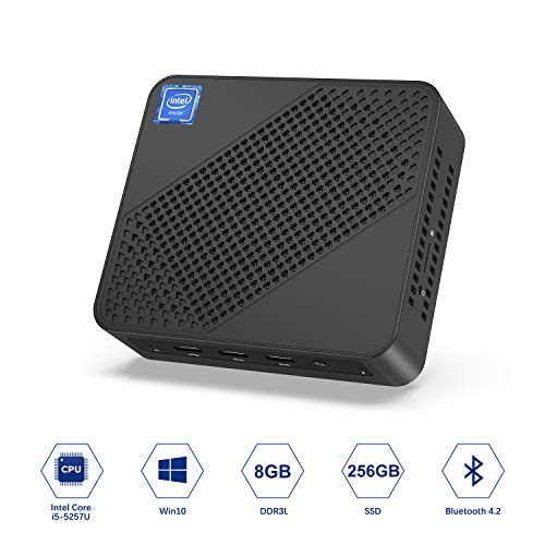 MINISFORUM Windows 10 Pro Mini PC, Intel Core i5-5257U Dual-Core Prozessor, 8 GB DDR3L 256GB SATA SSD Desktop-Computer, Unterstützung von 4K HD@60Hz/HDMI VGA Anschluss/Dual WiFi/Gigabit Ethernet/BT4.2
