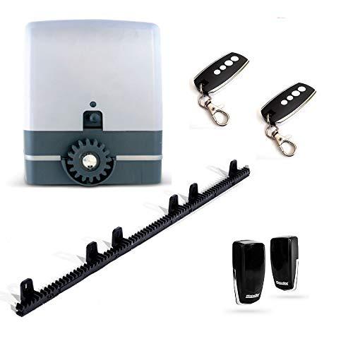 Kit para automatizar tu puerta de garaje corredera modelo VDS SIMPLY 230v 600 Kg, incluye motor, 2 mandos Rolling Code 433mhz, placa de control, 4 metros de cremallera, fotocélula y manuales.