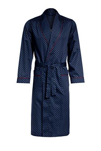 Revise Guido RE-504 - Elegante bata para hombre (100% algodón) Azul oscuro con lunares. S