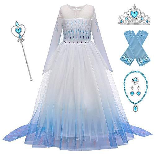 O.AMBW Vestido de Princesa con Capa Larga Falda Azul Violeta Disfraz de Frozen Cosplay de Princesa Disfraces de Carnaval con 6 Juegos de Accesorios Fiesta Halloween para Niñas de 2 a 12 años