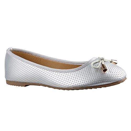 stiefelparadies Klassische Damen Ballerinas Flats Leder-Optik Lack Glitzer Schleifen Ballerina Übergrößen Schuhe 136035 Silber Gold 39 Flandell