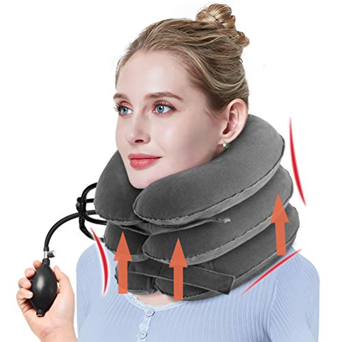 Collar Cervical Inflable - PRETTY SEE Collarín de Tracción Cervical,Cuello de Vértebra Cervical Tractor, Potente de Vértebra Cervical, 3 Capas,