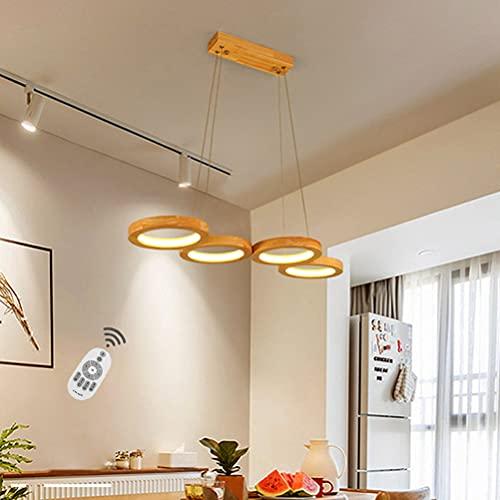 Lámpara colgante LED mesa de comedor madera Colgante de luz Moderno Lámpara de comedor 4 llamas en mirada de anillo 48W regulable con mando a distancia Lampara pendiente para salón cocina office 75cm
