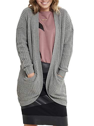 ONLY Damen onlEMMA New L/S Cardigan KNT Strickjacke, Grau (Medium Grey Melange), 38 (Herstellergröße: M)