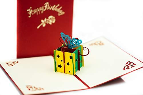 3D Geburtstagskarte mit Umschlag, Geschenk, besondere Grußkarte, Klappkarte, Pop Up Karte, Glückwunschkarte, Happy Birthday, handgemacht, WOW-Effekt | wir lassen einen Baum pflanzen | Bioluno