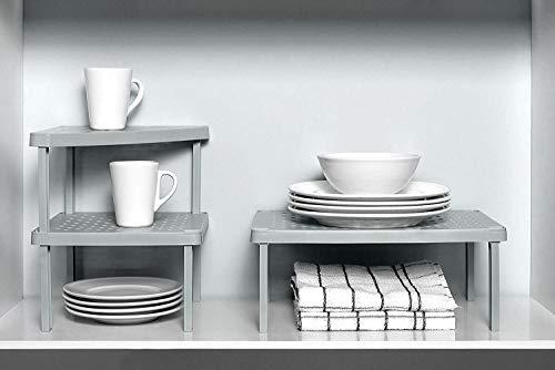 Ou Premium Design Colección de Niveles Armario de Cocina apilable y Organizador de despensa, Estante Modular, Juego de 4 (Gris)
