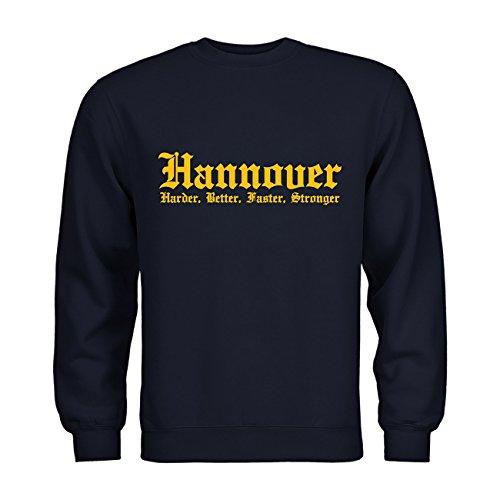MDMA Sweatshirt Hannover Harder, Better, Faster, Stronger N14-mdma-s00283-96 Textil Navy/Motiv gelb Gr. S
