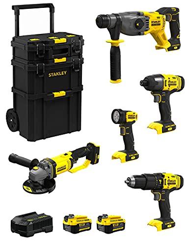 STANLEY FatMax Kit SVK501 (SFMCH900 + SFMCG400 + SFMCD711 + SFMCF800 + SFMCL020 + 2 Baterías de 4,0 Ah + Cargador + Carro 3en1)