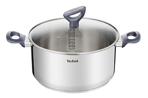 Tefal Daily Cook - Cazo de acero inoxidable de 20 cm, 3 Litros, base reforzada, aptas para todo tipo de cocinas incluido inducción, gran conductividad y resistencia con materiales reciclados