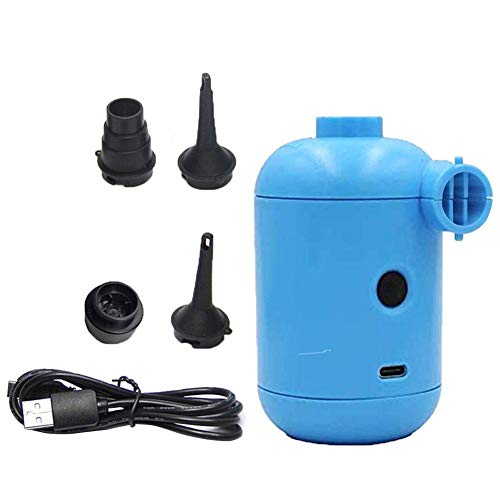 Uayasily Bomba De Aire Eléctrica, Recargable para Inflar con Aire De Llenado Rápido De La Bomba Eléctrica USB para Sofá Inflable, Aire Balsa Colchón, Aire Barco Azul
